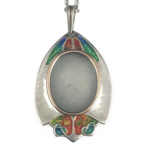 arts crafts silver and enamel locket by archibald knox for john baker bennett co