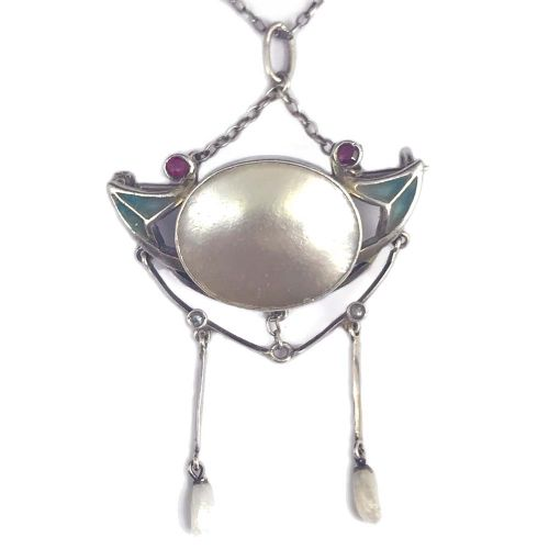 art nouveau silver plique a jour and mother of pearl enamel pendant brooch attributed to meyle meyer