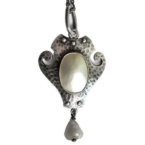 art nouveau silver and mother of pearl pendant by murrle bennett