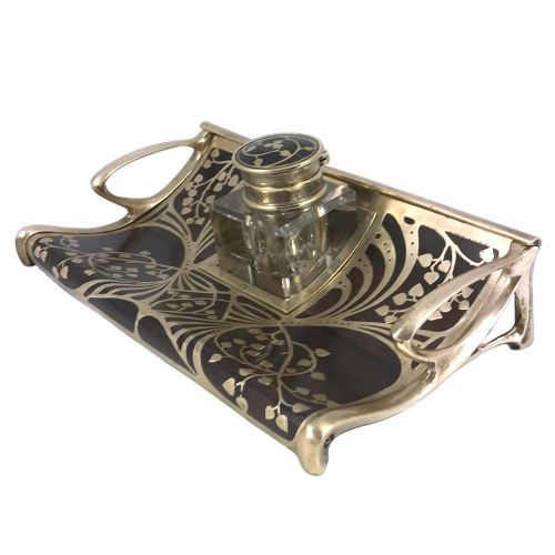 art nouveau intarsia brass wood and glass inkwell by erhard sohne