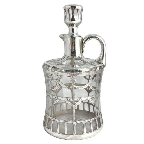 art nouveau silver overlay and glass spirit decanter