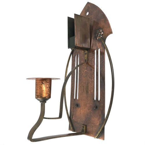 art nouveau secessionist brass and copper candles sconce by wmf