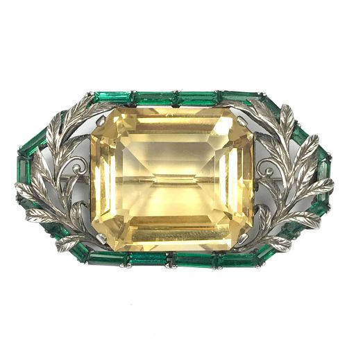 arts crafts citrine silver and green paste brooch by bernard instone