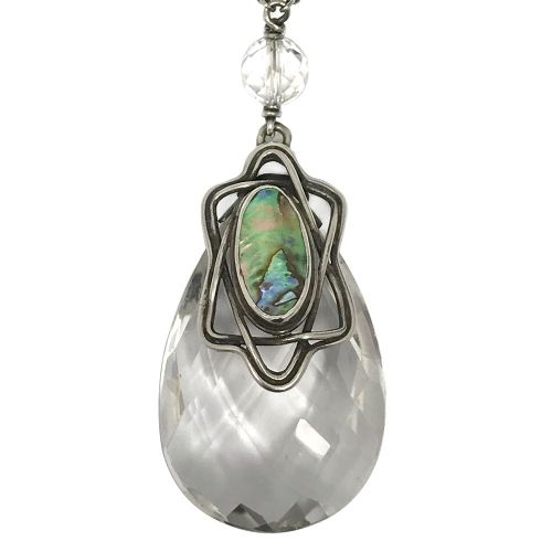 arts crafts silver rock crystal and abalone pendant