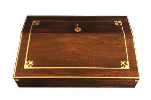 regency 1820 brass inlaid rosewood lap desk