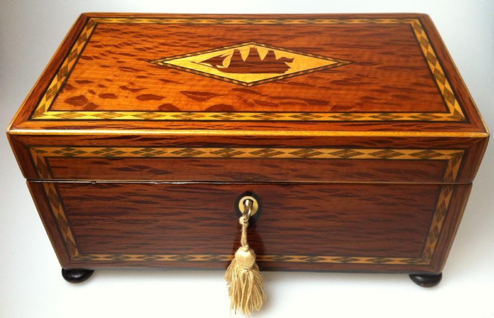 partridge wood tea caddy 2