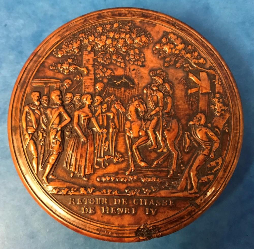 french c1820 pressed birch henry iv snuff box