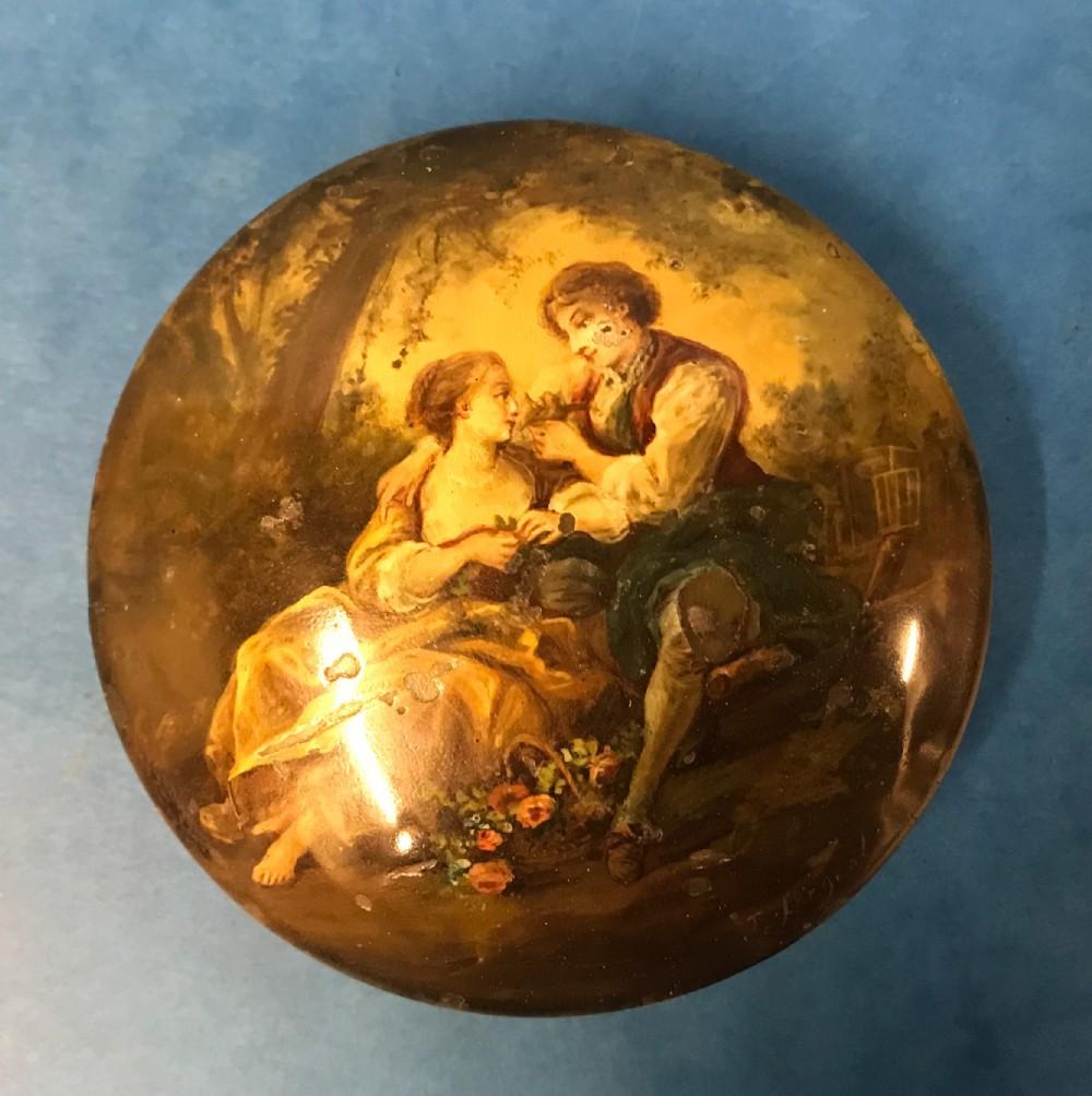 18th century tortoiseshell painted snuff box
