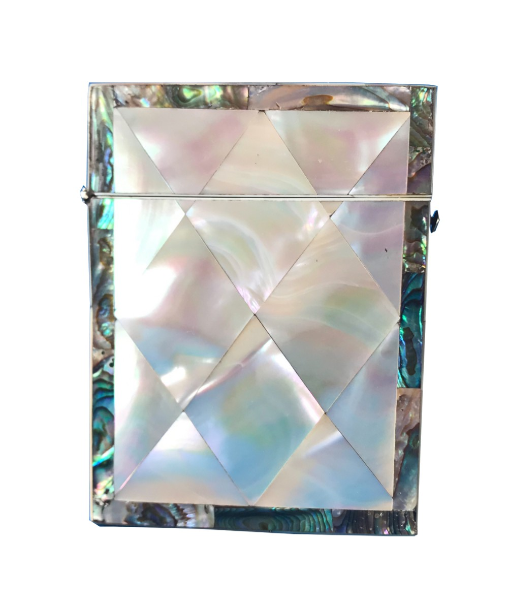 victorian mother of pearl and abalone card case