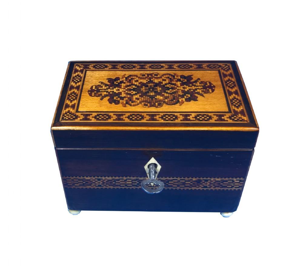 miniature victorian tunbridge inlaid tea caddy