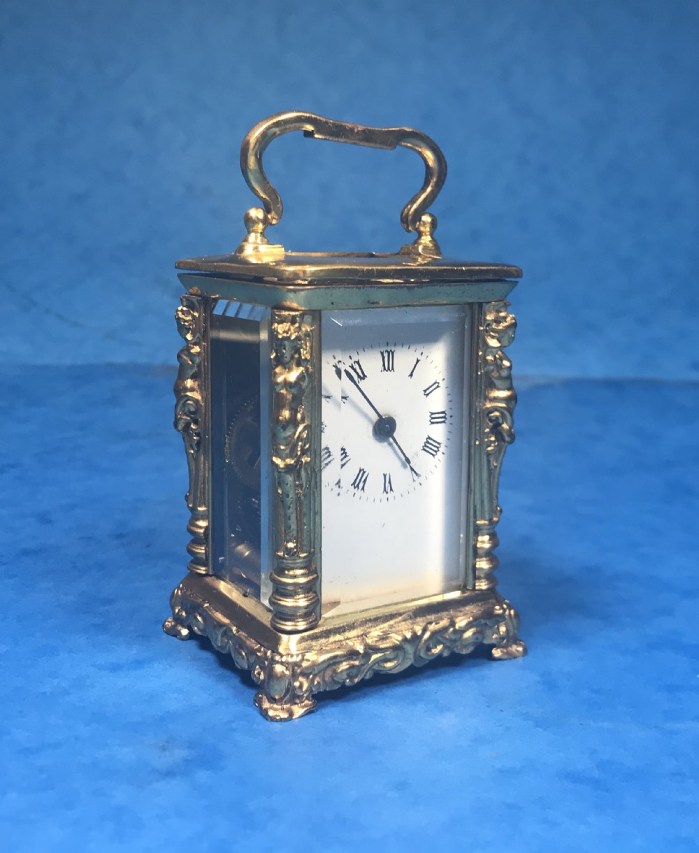 victorian miniature brass carriage clock