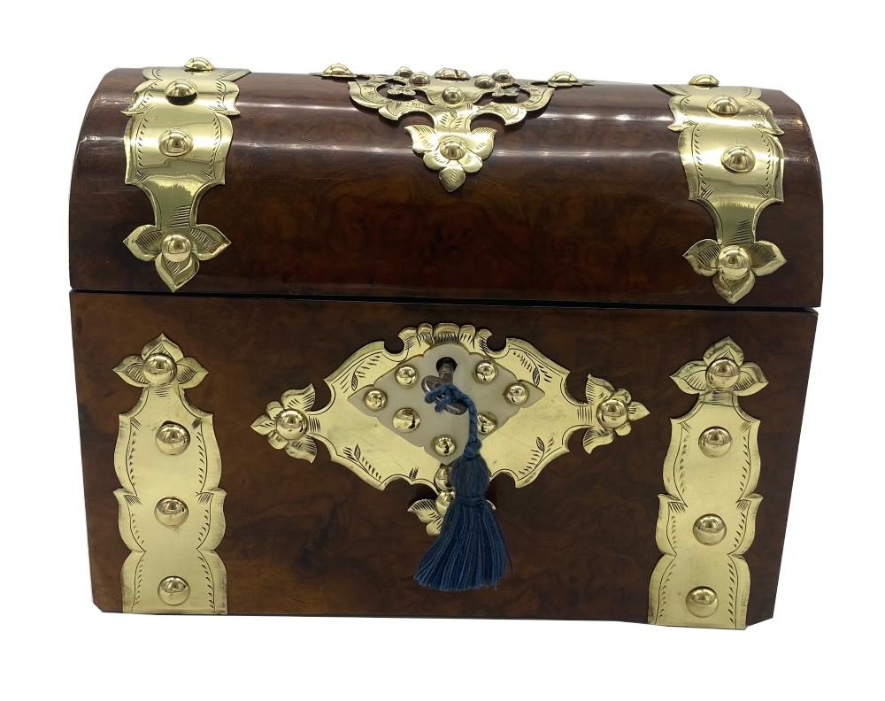 victorian brassbound burr walnut casket
