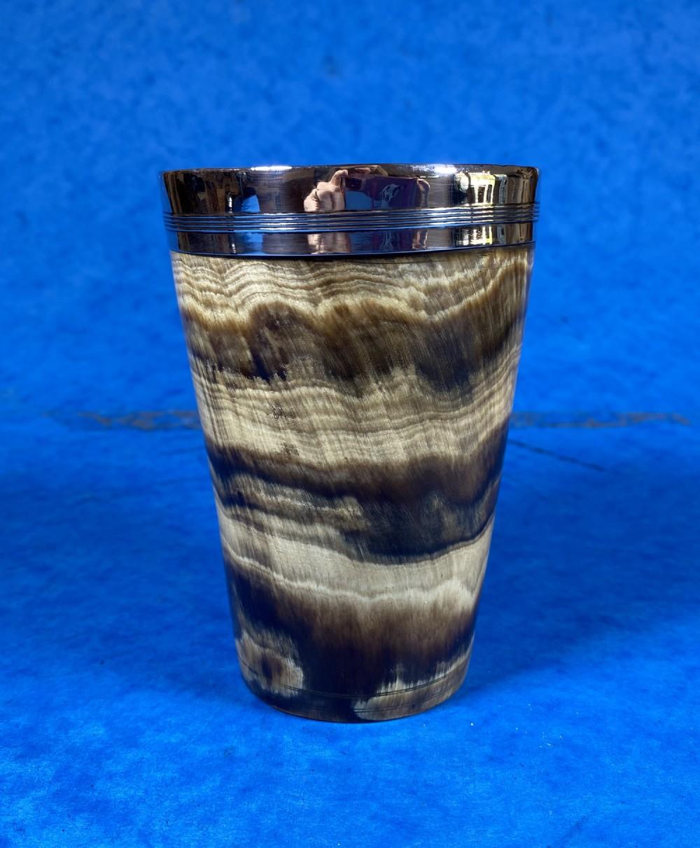 georgian silver bound horn beaker
