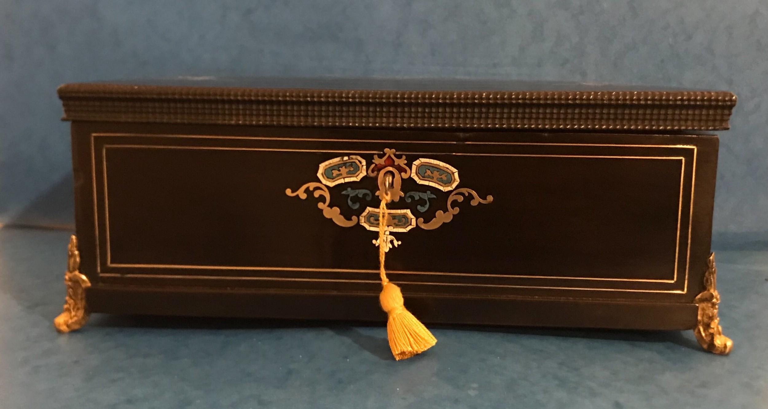 french 1850 brass tortoiseshell and ebonised fruitwood jewellery box casket