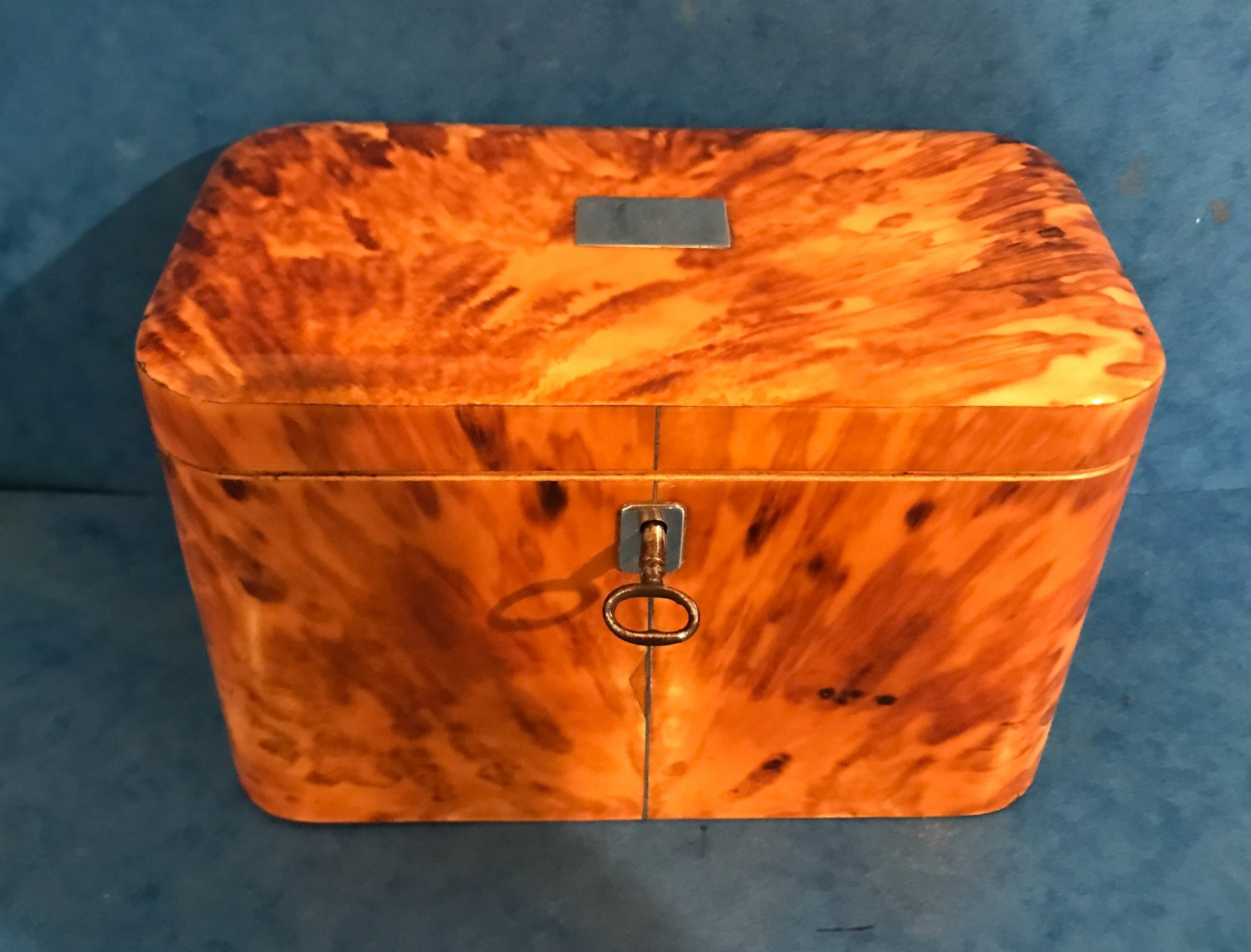 3ba8d867592 georgian 1820 blonde tortoiseshell and pewter inlaid twin section tea caddy