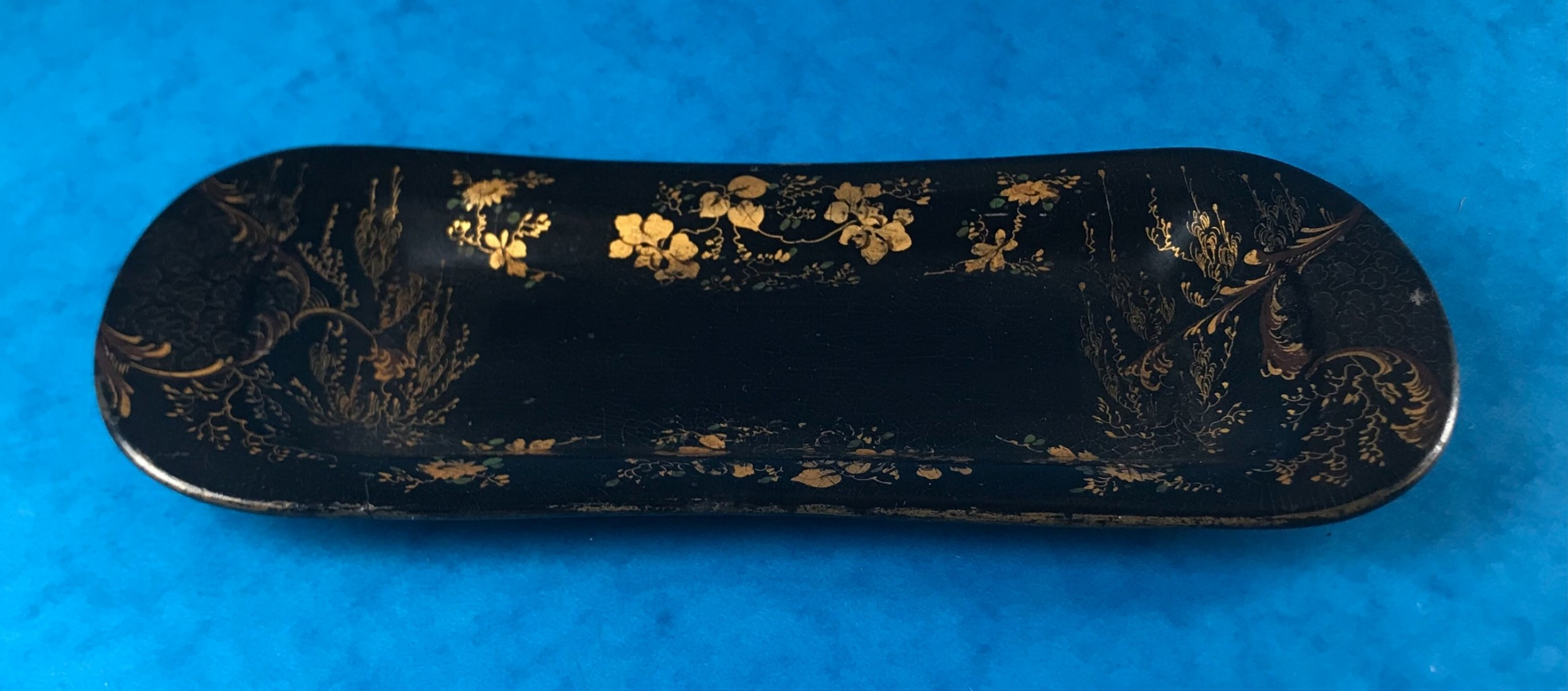 georgian hand painted papiermch snuffer tray