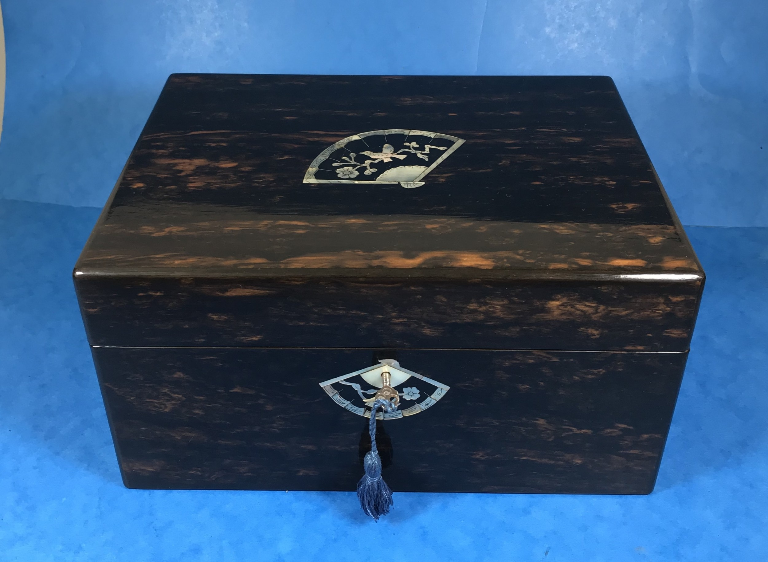 a beautiful victorian coromandel fitted sewing box with beautiful mother of pearl inlay