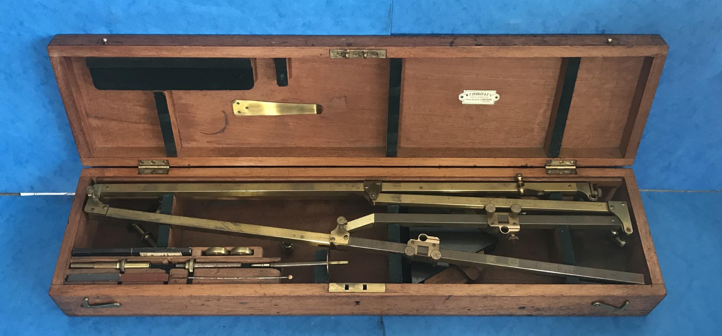 edwardian stanley of london brass pantograph in its original mahogany box