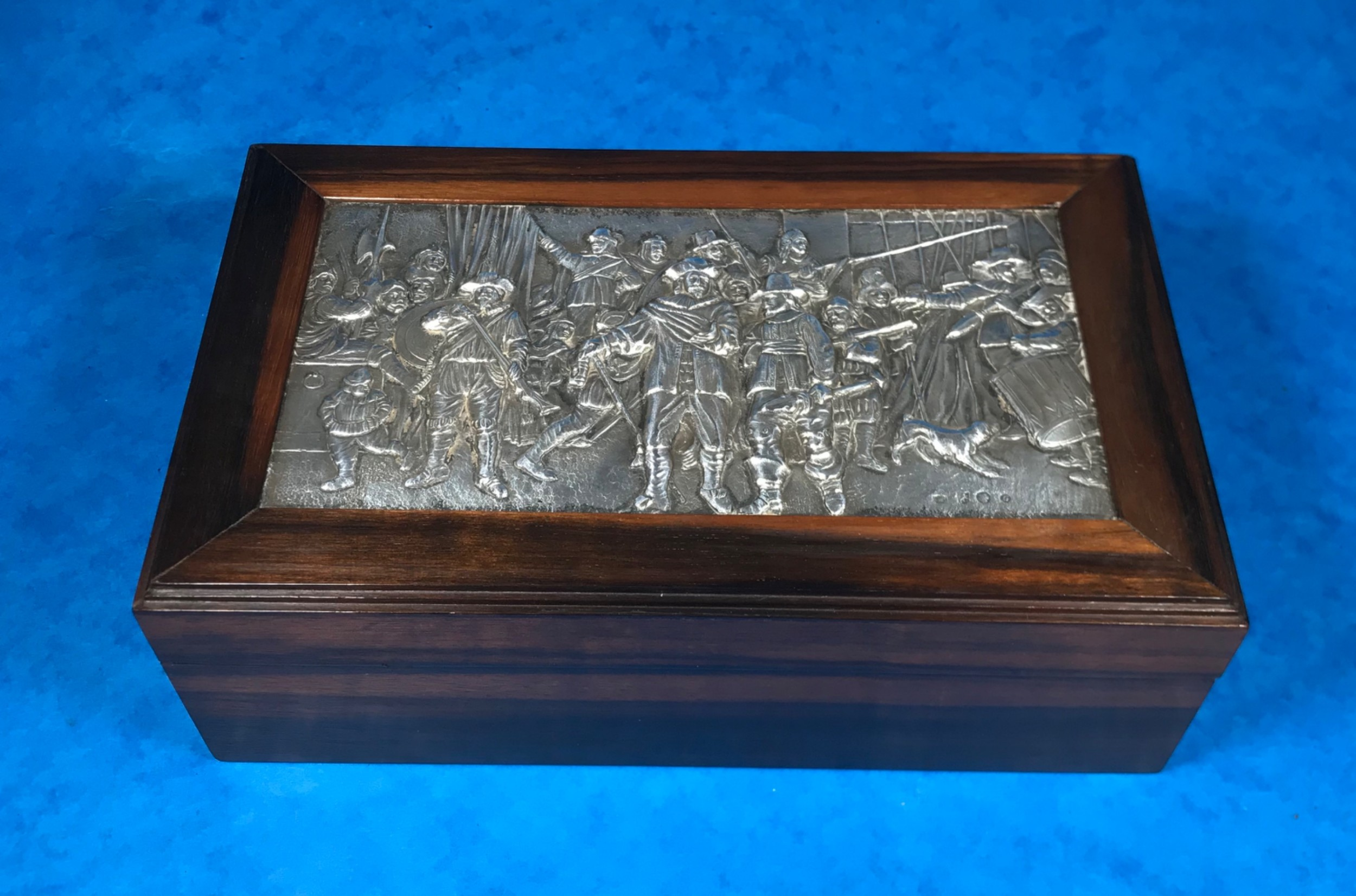 19th century dutch black walnut box with a silver 17th century style panel to the top