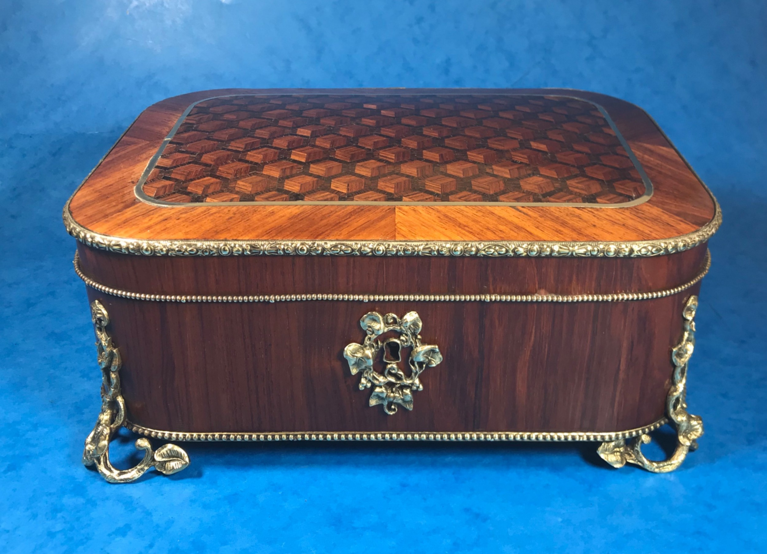 victorian french tulipwood box with rosewood and kingwood inlay