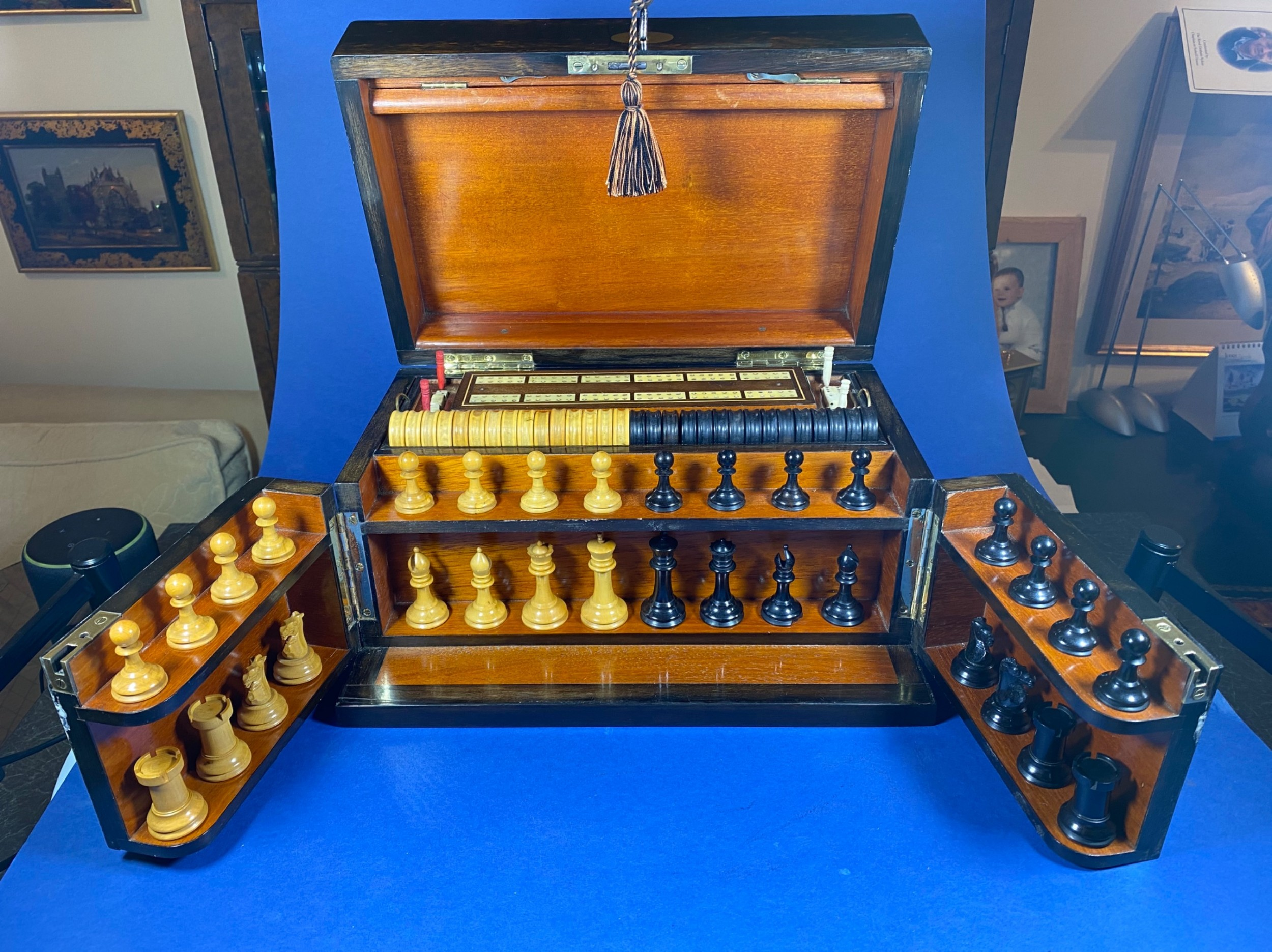 an outstanding victorian coromandel fully fitted games box