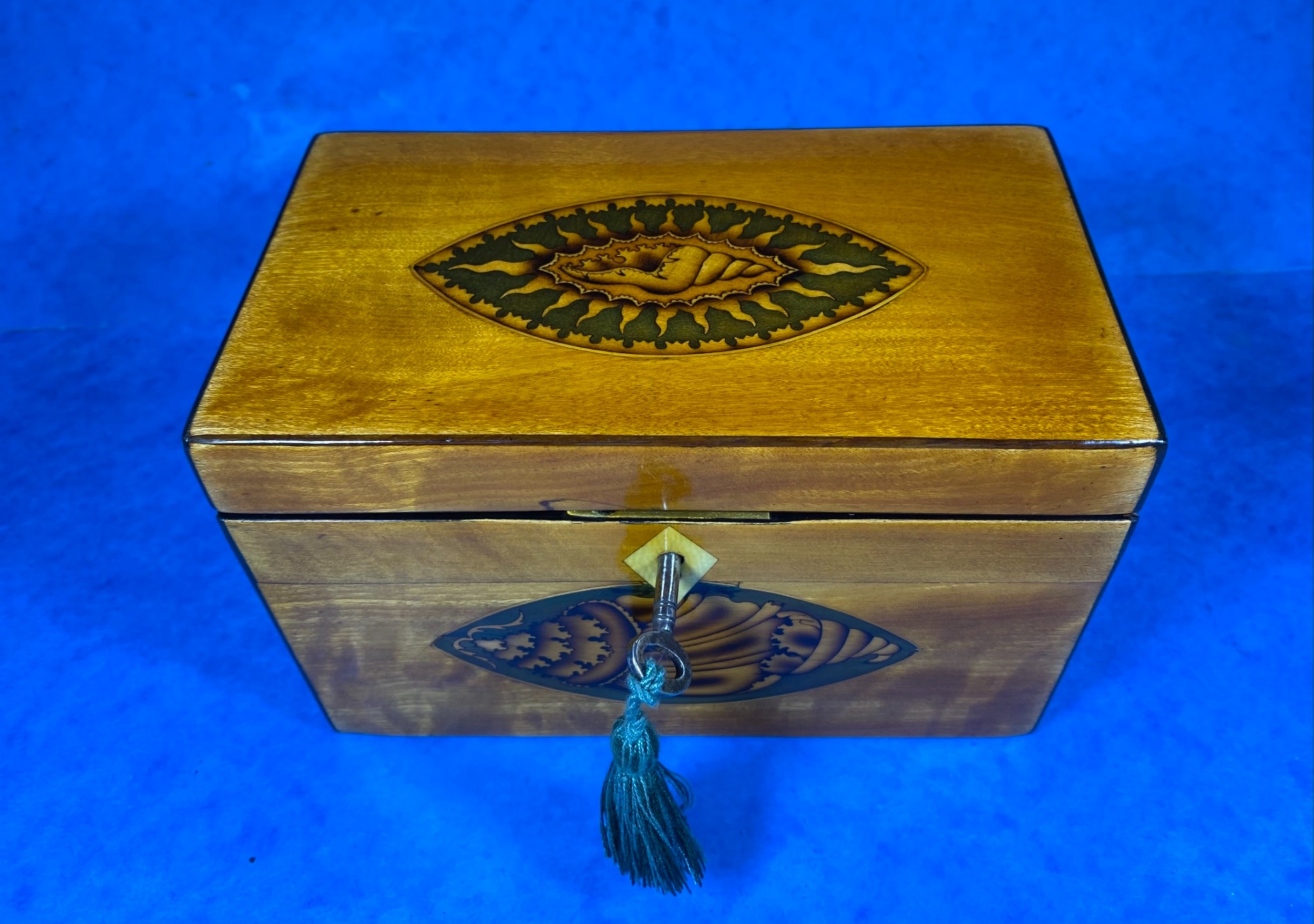 late 18th century fruitwood and applewood twin tea caddy