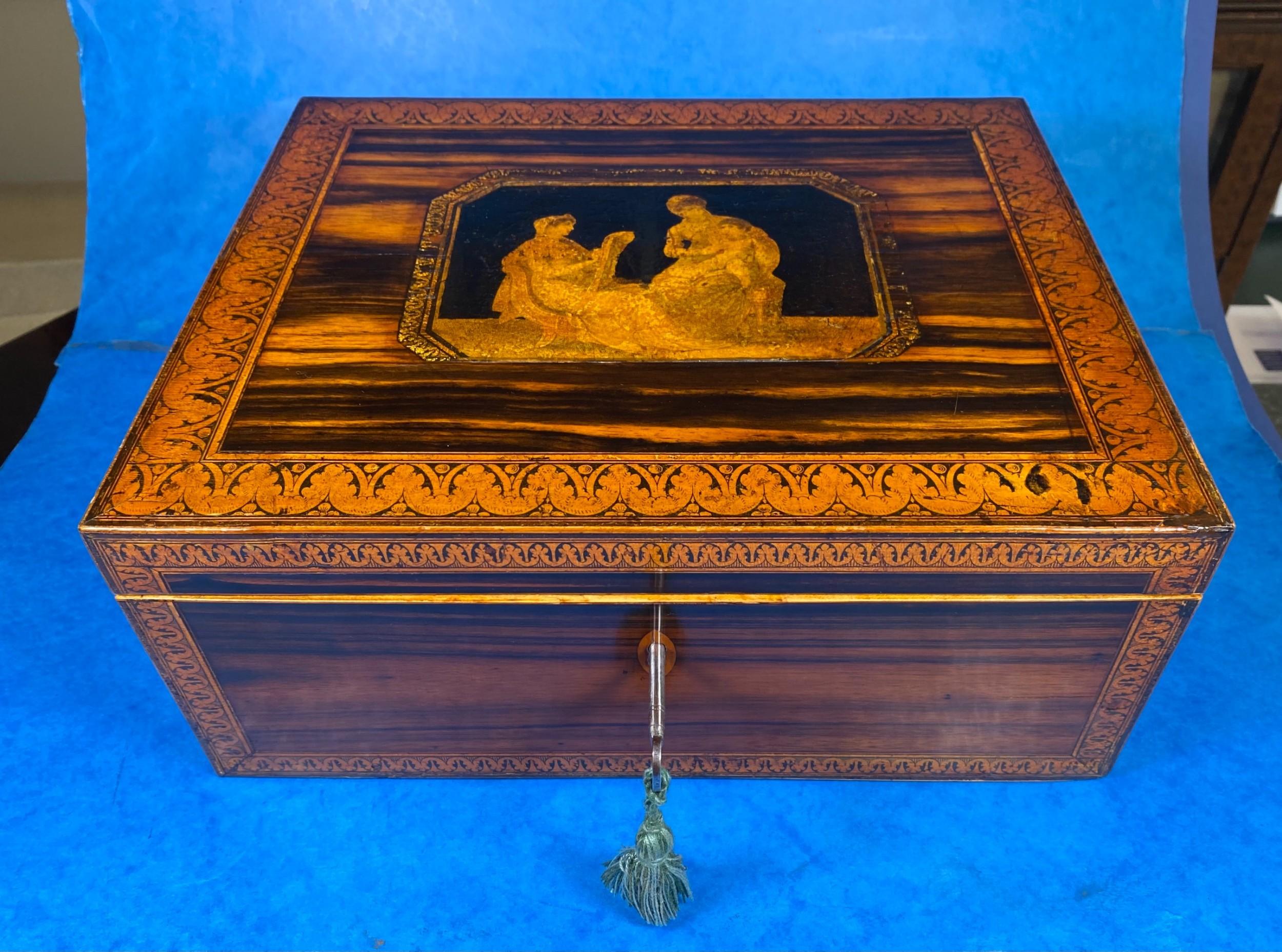 regency penwork coromandel jewellery box