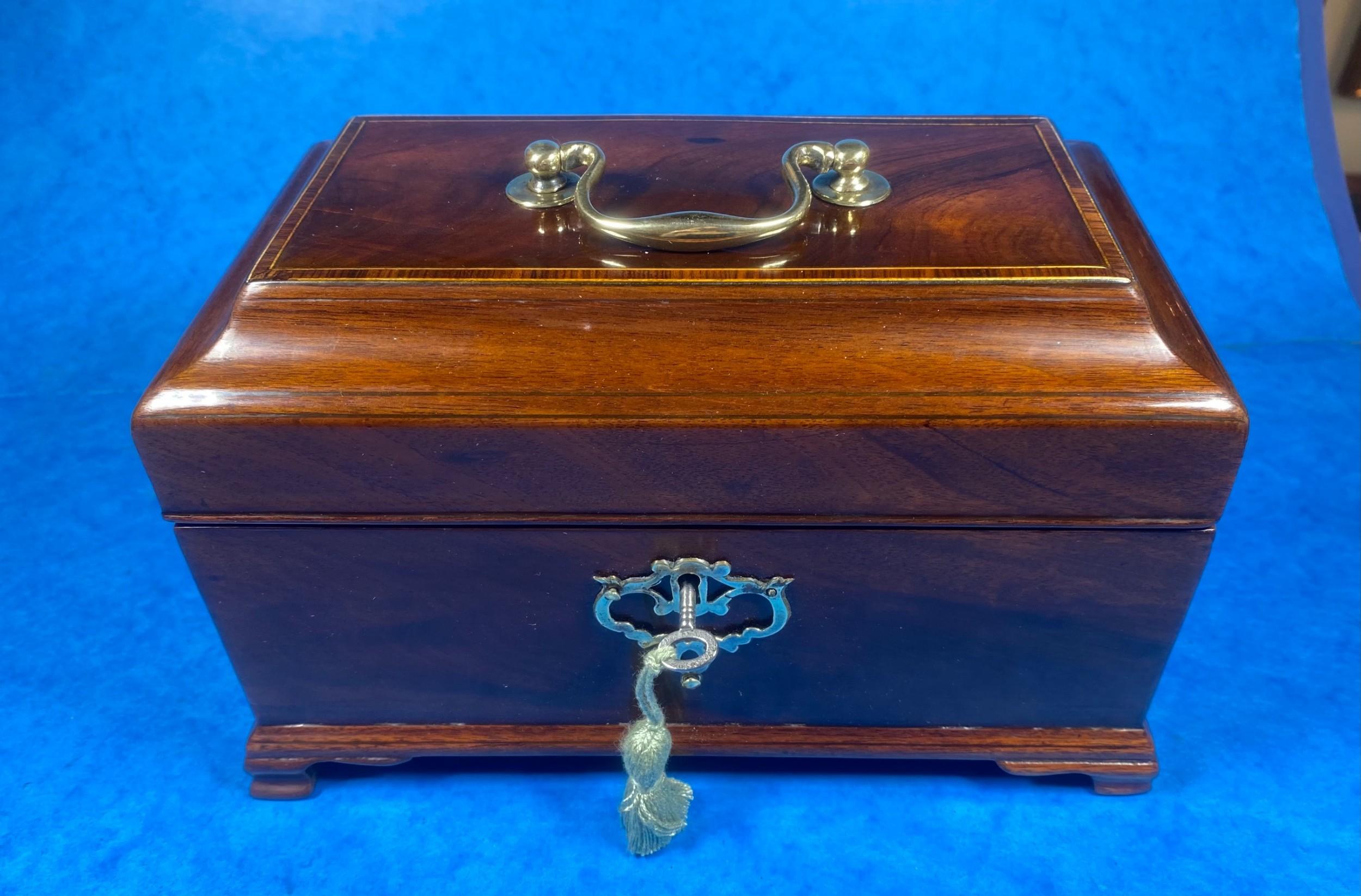 18th century mahogany triple section tea caddy