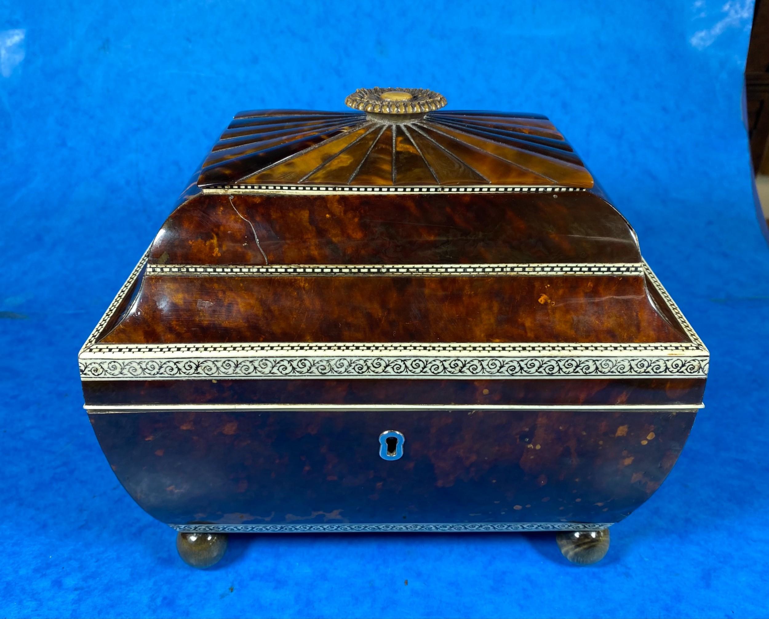 georgian sarcophagus tortoiseshell sewing box