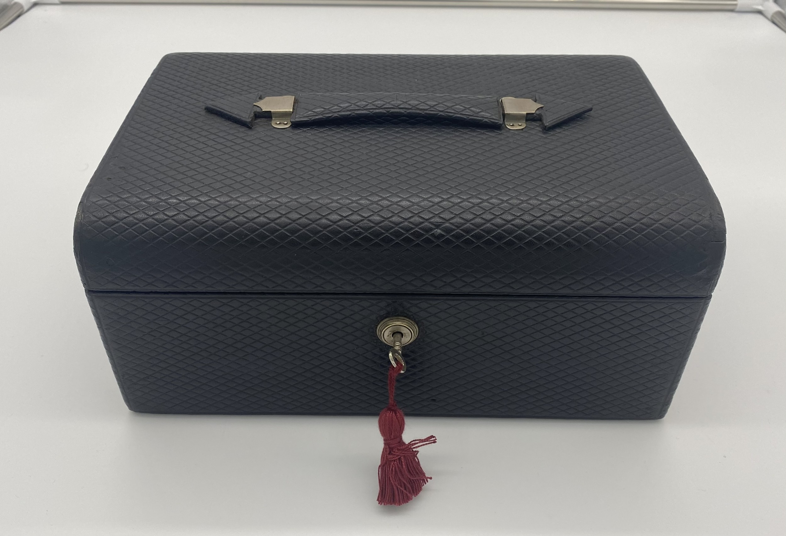 victorian leather fitted jewellery box