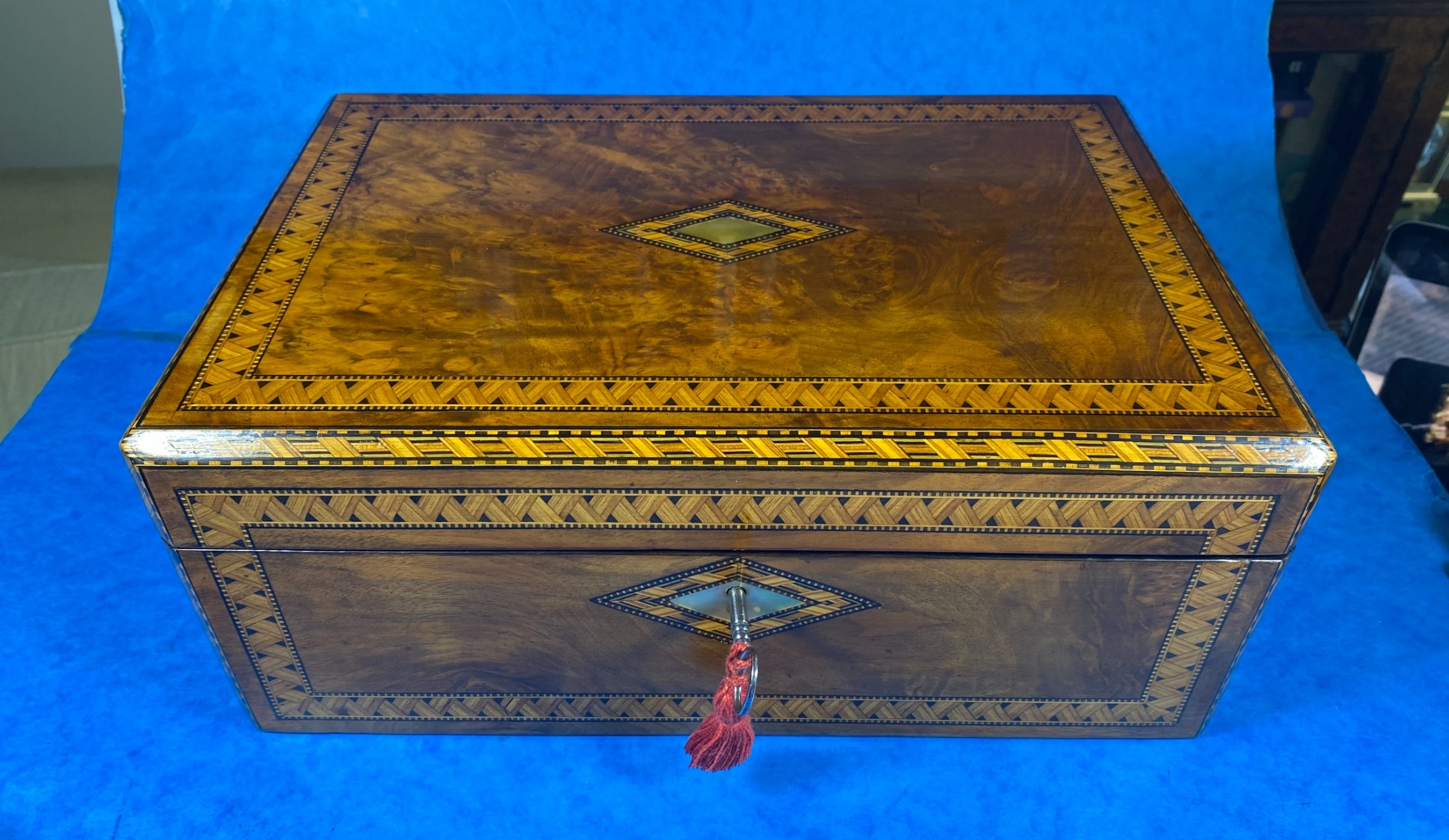 victorian walnut writing slope with tunbridge ware inlay