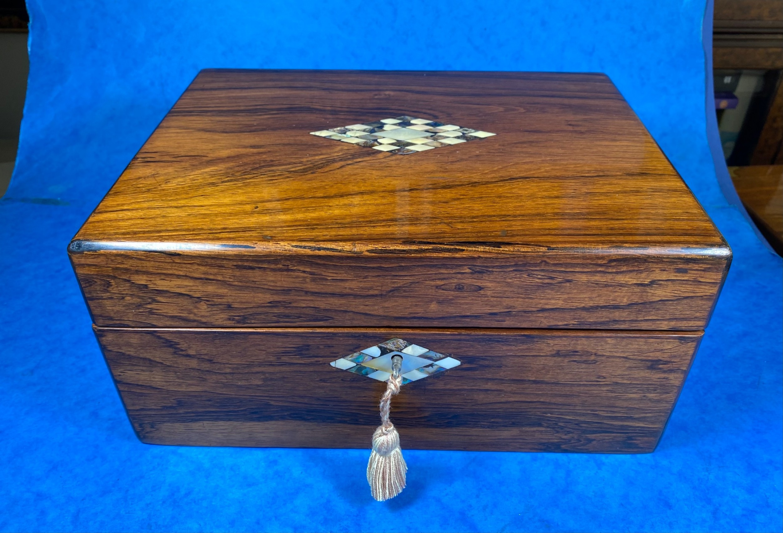 victorian rosewood box with mother of pearl inlay