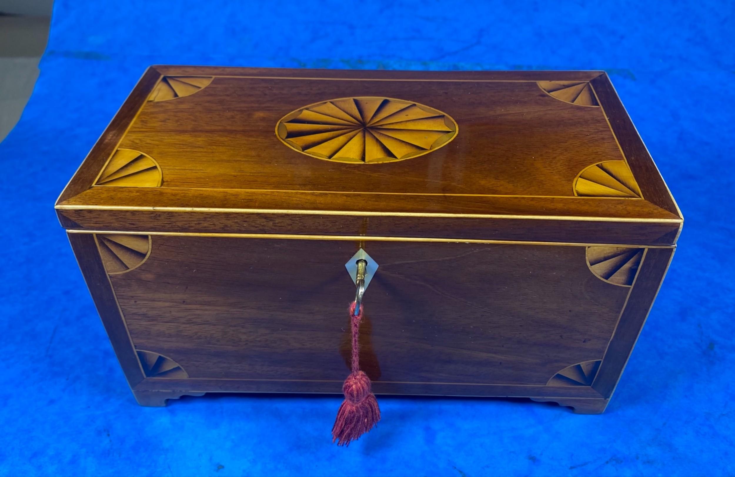 georgian mahogany fan inlaid tea caddy