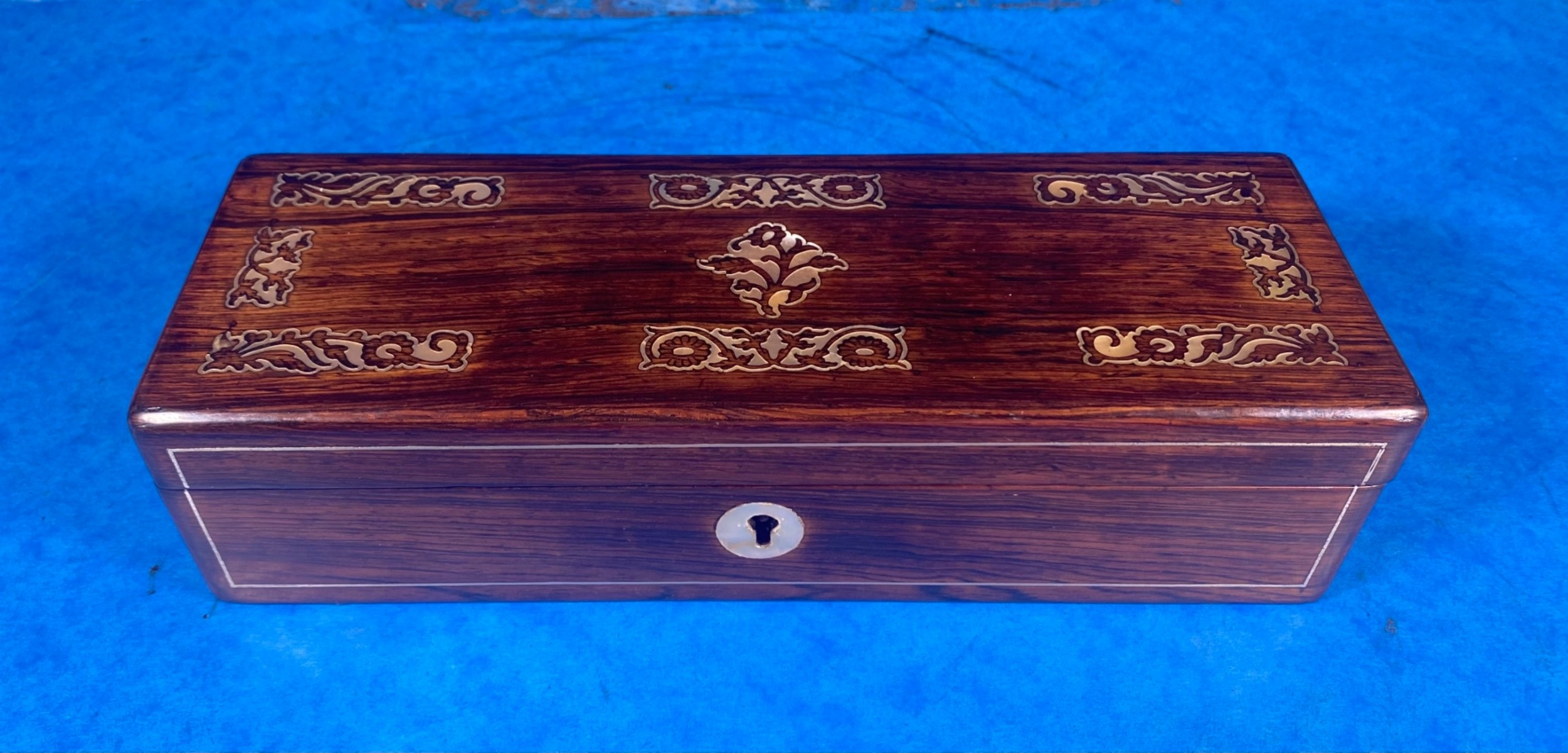william iv mother of pearl inlaid rosewood glove box