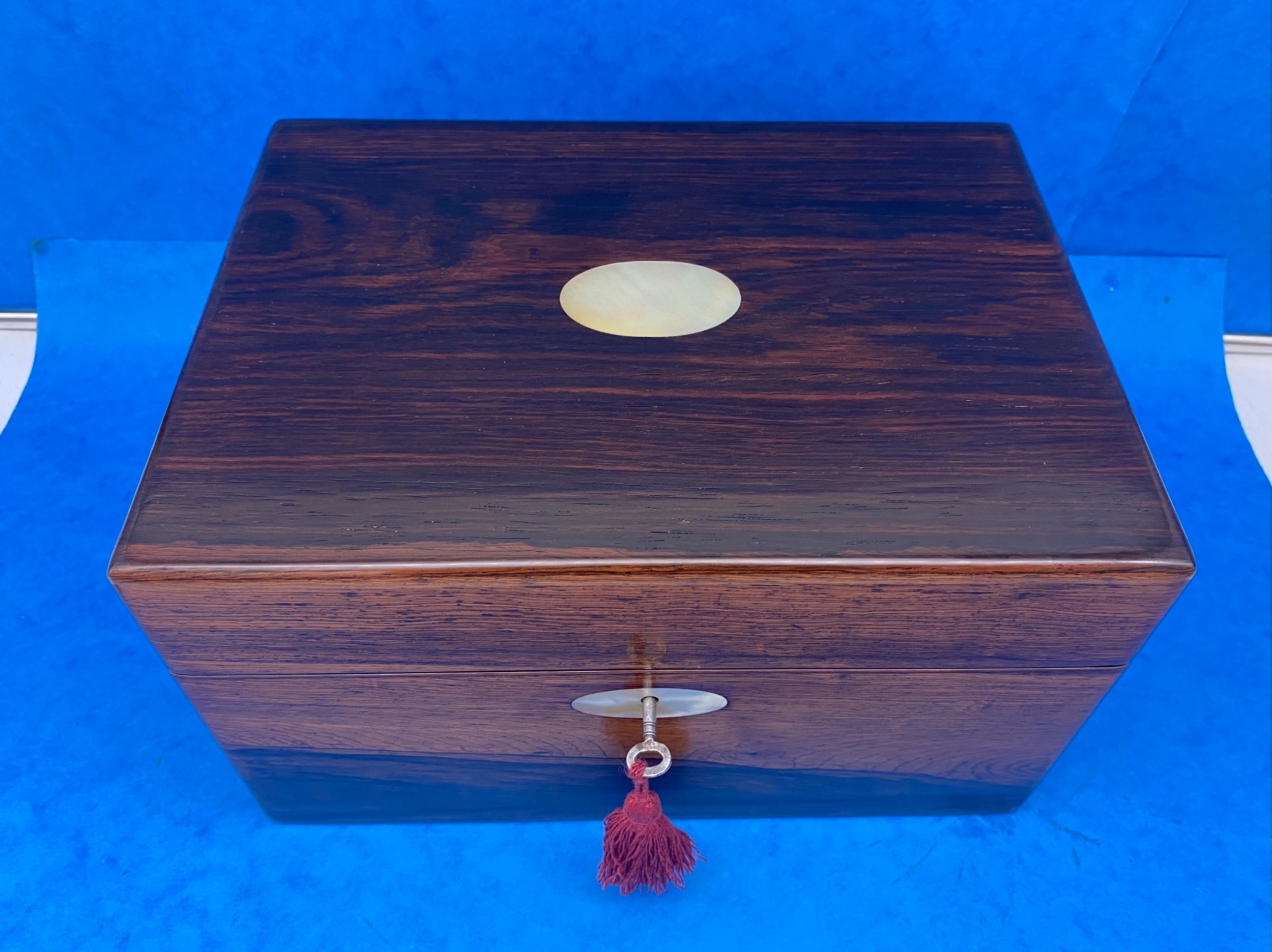 victorian rosewood jewellery box with a side drawer