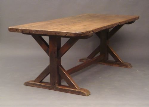 Late th century oak trestle table