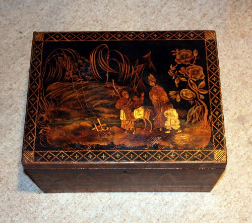 antique regency chinoiserie box