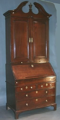 george ii mahoagny bureau bookcase with swan neck pediment - photo angle #2