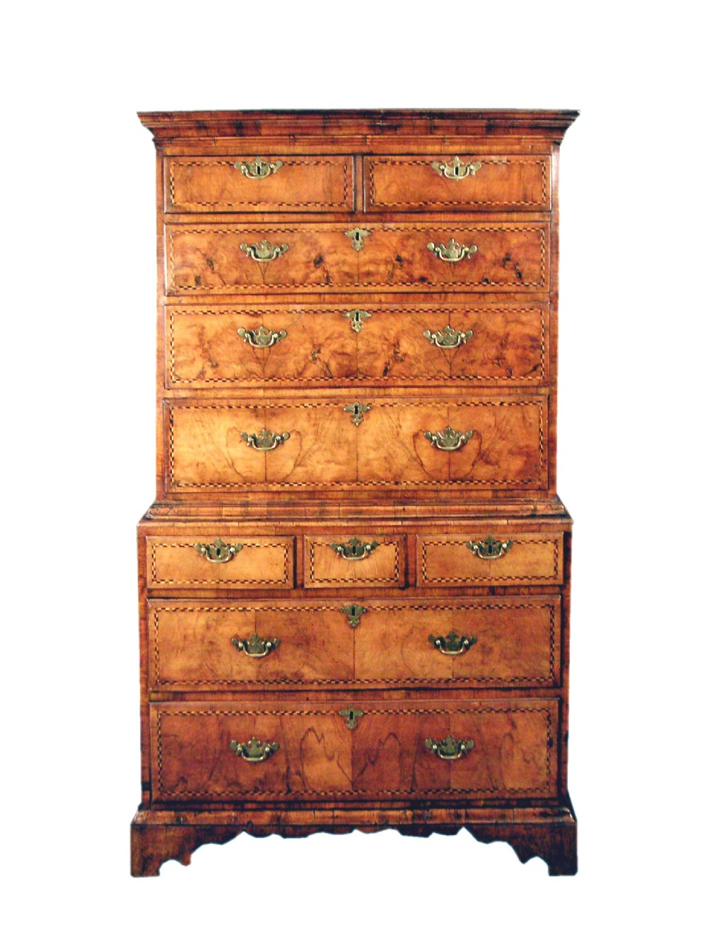 mid 18th century figured walnut tallboy