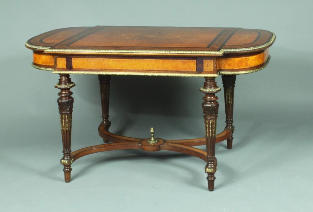 victorian centre table in amboyna