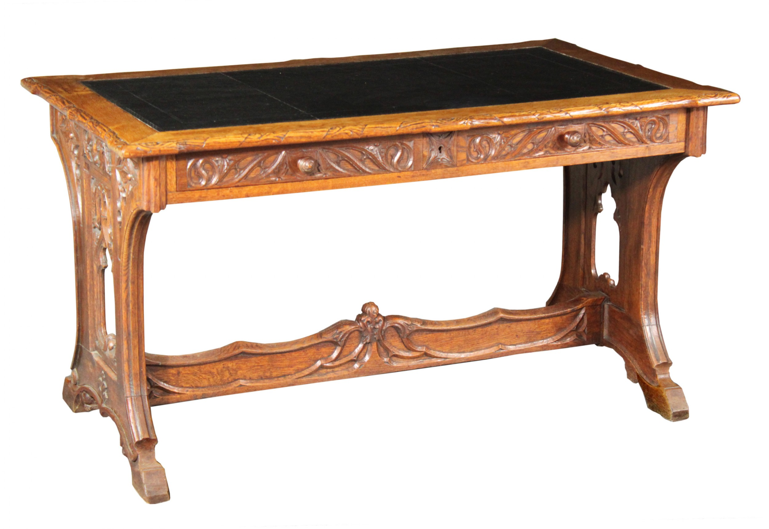 neogothic carved oak writing table