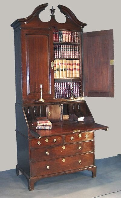 george ii mahoagny bureau bookcase with swan neck pediment