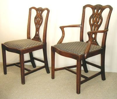 set of eight dining chairs by shoolbred