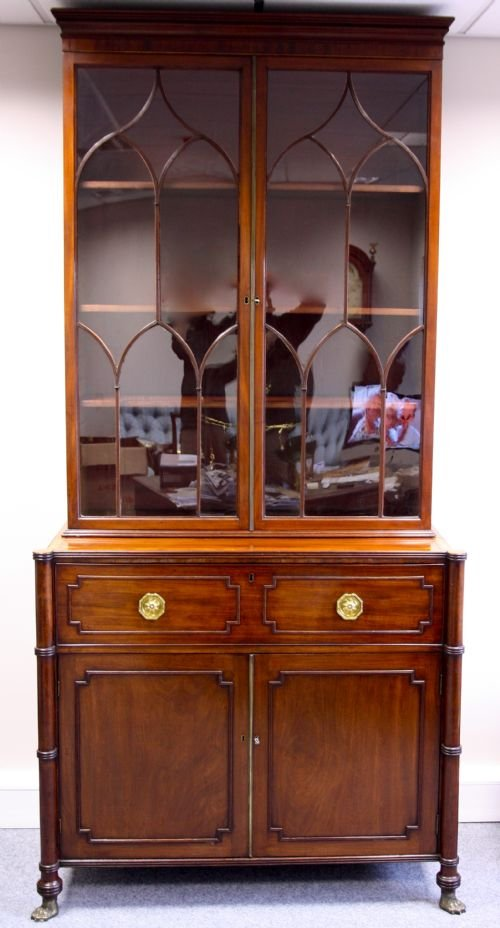 a good geo iii mahogany secretaire bookcase