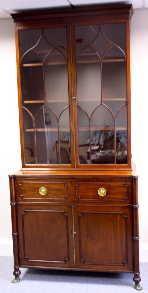 a good geo iii mahogany secretaire bookcase - photo angle #2