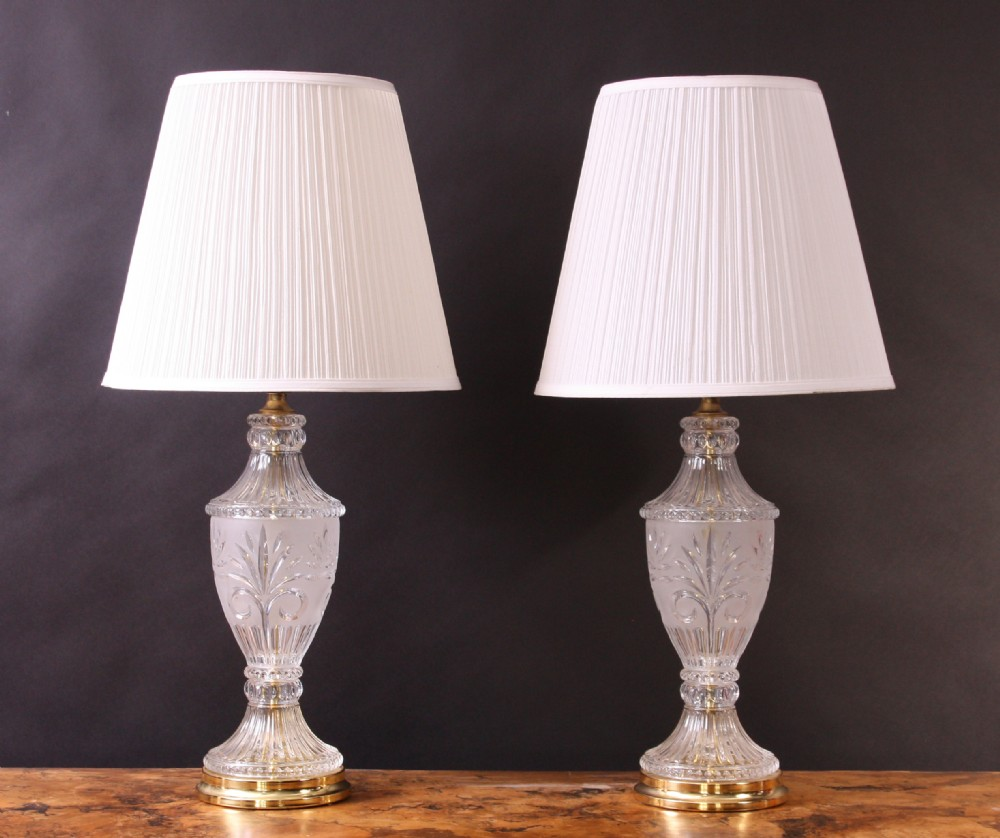 A Superb Pair Of Crystal Cut Glass Table Lamps.   264655 ...:a superb pair of crystal cut glass table lamps,Lighting