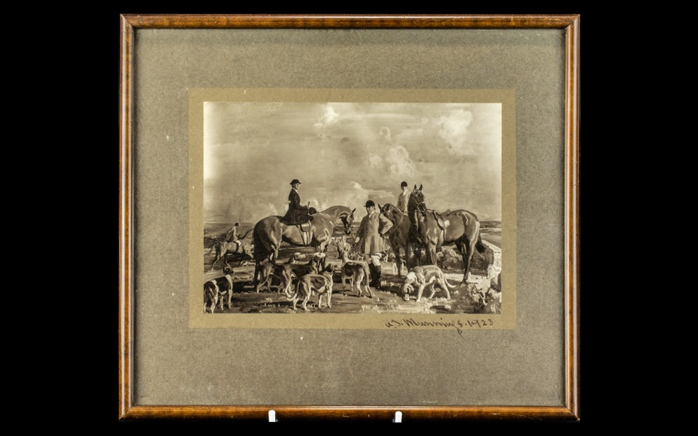 sir alfred james munnings original pair of ink signed photos of the landed gentry with there nags in the halcyon days
