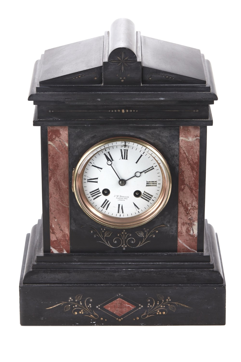 antique victorian 8 day marble mantel clock