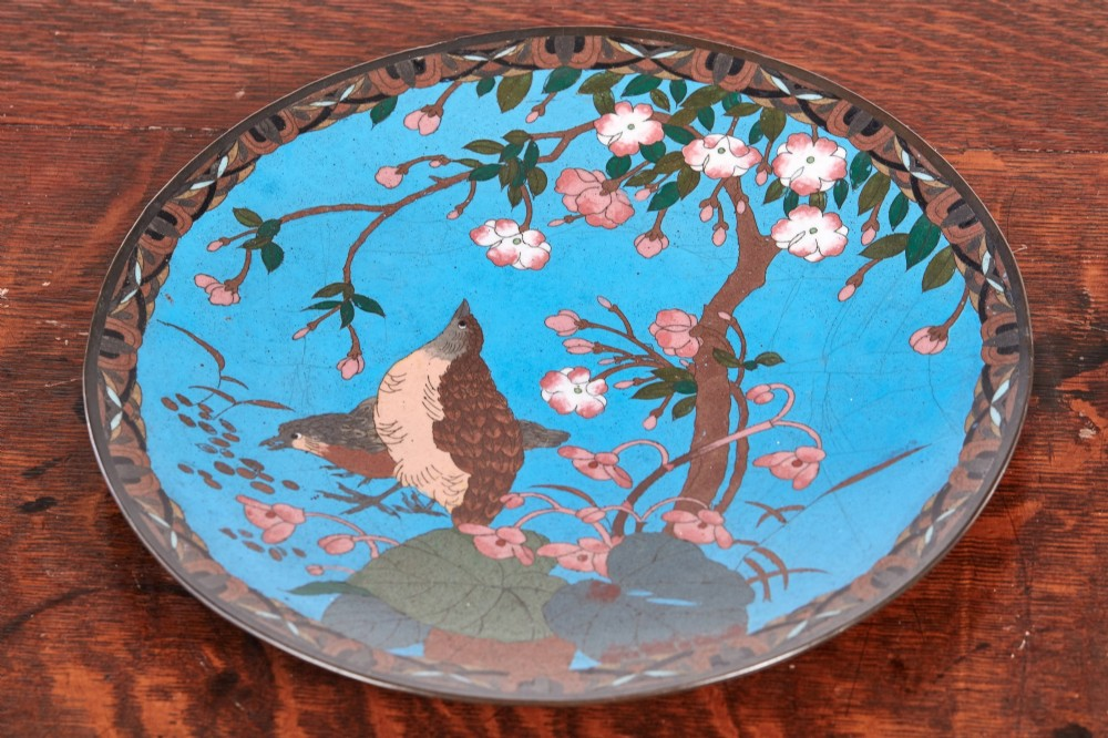 quality antique japanese cloisonne plate