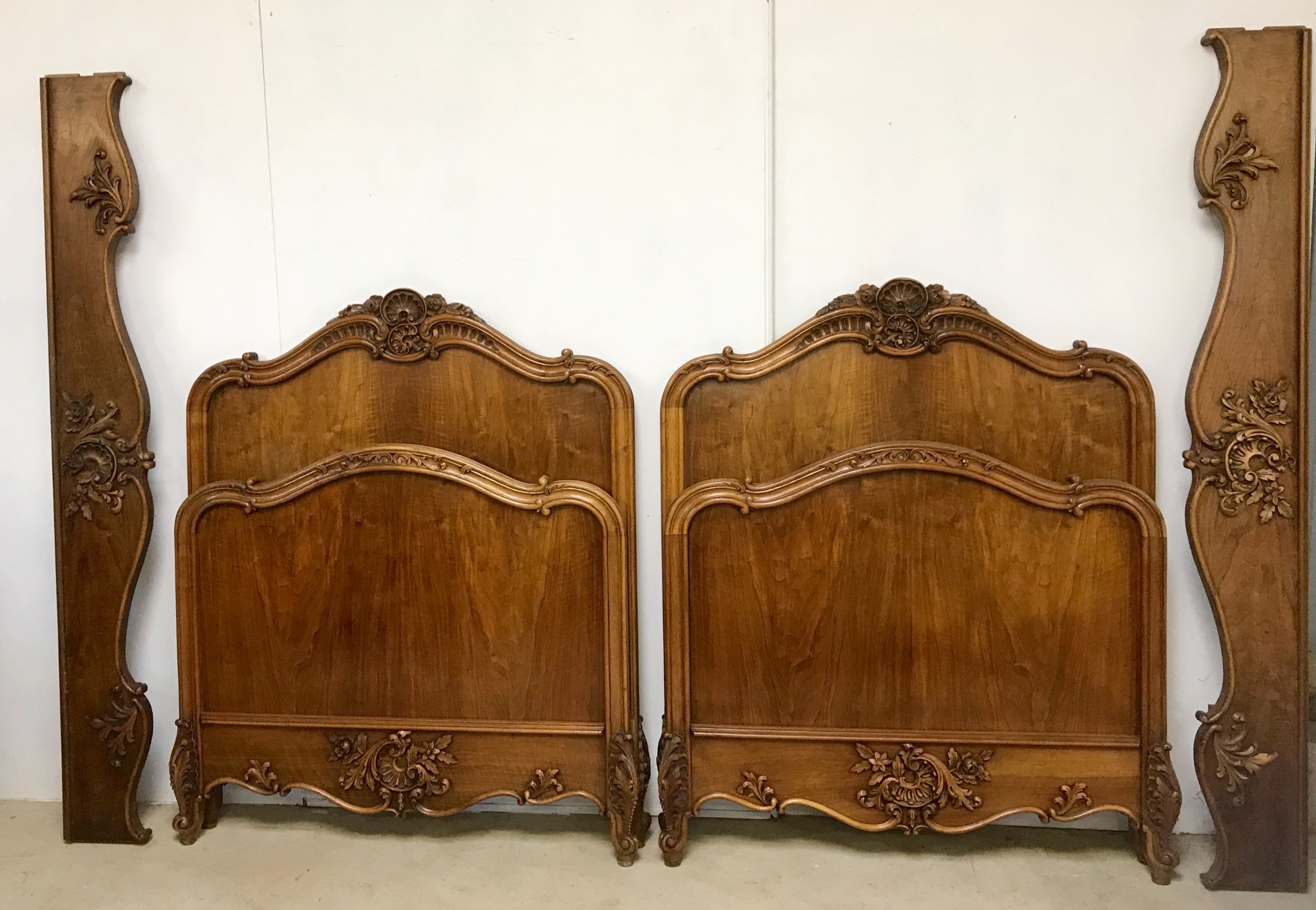 pair of french walnut beds